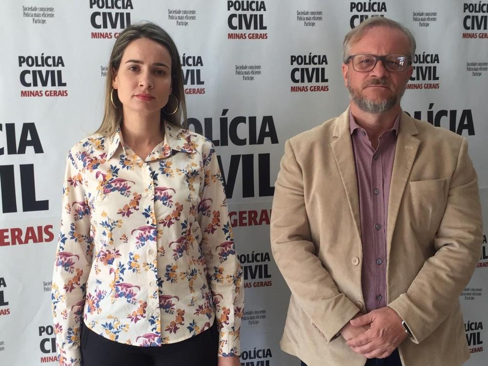 Delegada Paula Dib e delegado regional Vitor Hugo falaram sobre investigações em Araxá — Foto: Daiane Jardim/G1