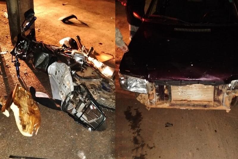 Acidente de trânsito envolvendo moto e carro é registrado em Bambuí