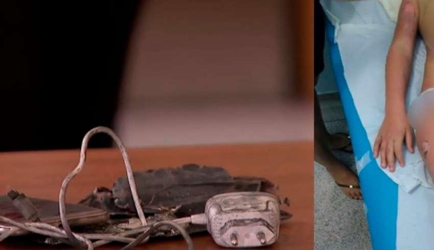 Celular explode e mãe encontra menina de 5 anos 'em chamas'